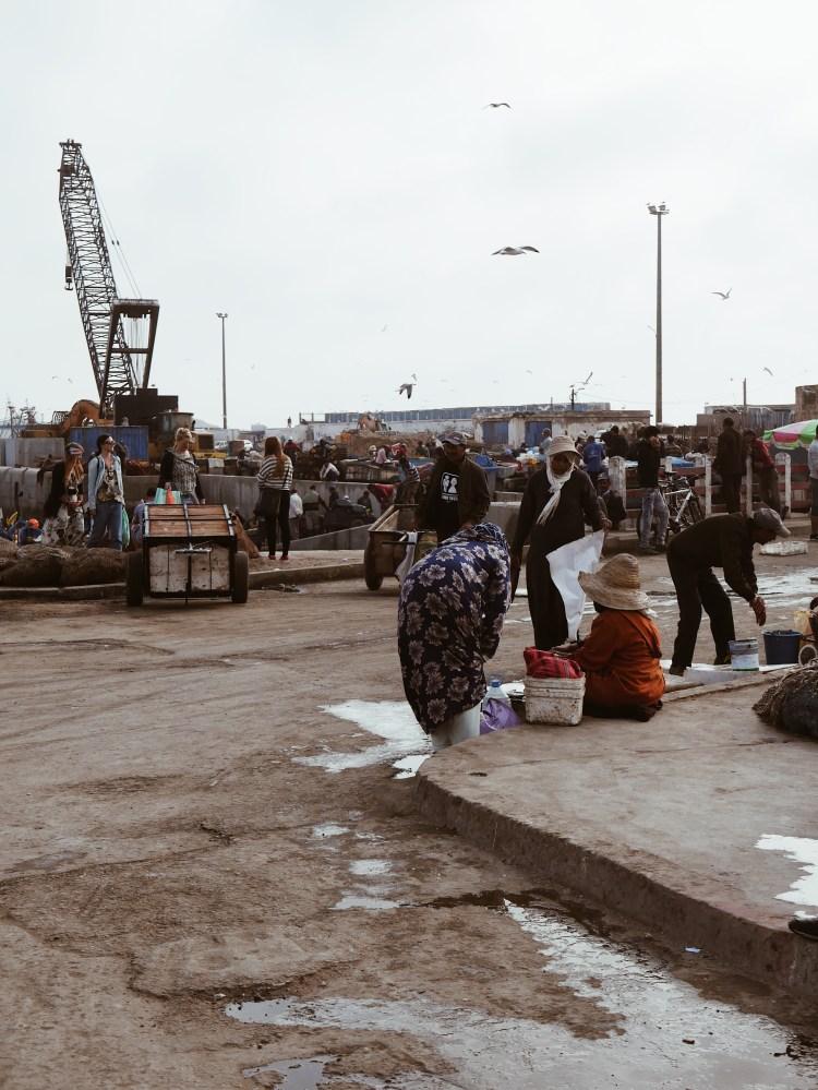 Hafen mit Fischverkäufern Essaouira