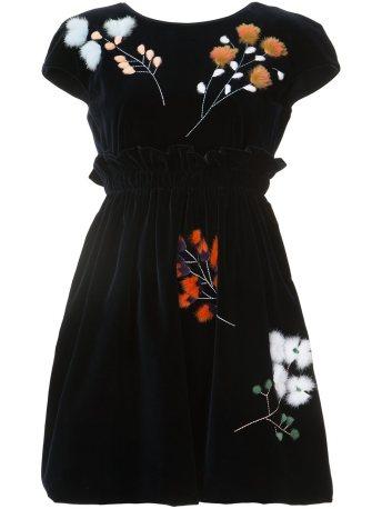 Fendi Mink Fur Branch Velvet Dress