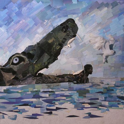 Crocodile collage by Laüra Hollick