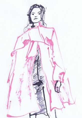 line drawing of a woman wearing a big pink coat. Drawin with stick and ink