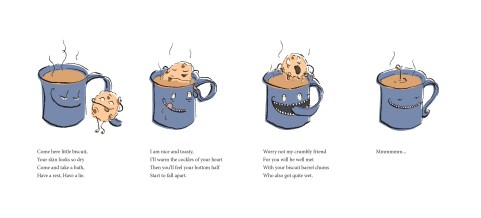 Digital illustration of a biscuit drowning in a mug of tea, with accomanying poem by Laura Elliott at Drawesome Illustration, Bristol. Illustration, Design, Whimsy