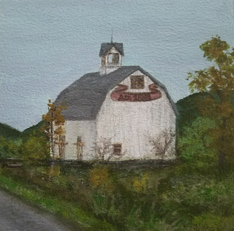 1883 Barn by Laura Jaen Smith. Acrylic landscape painting of historic barn along Route 13 Newfield NY from Around the Finger Lakes series.