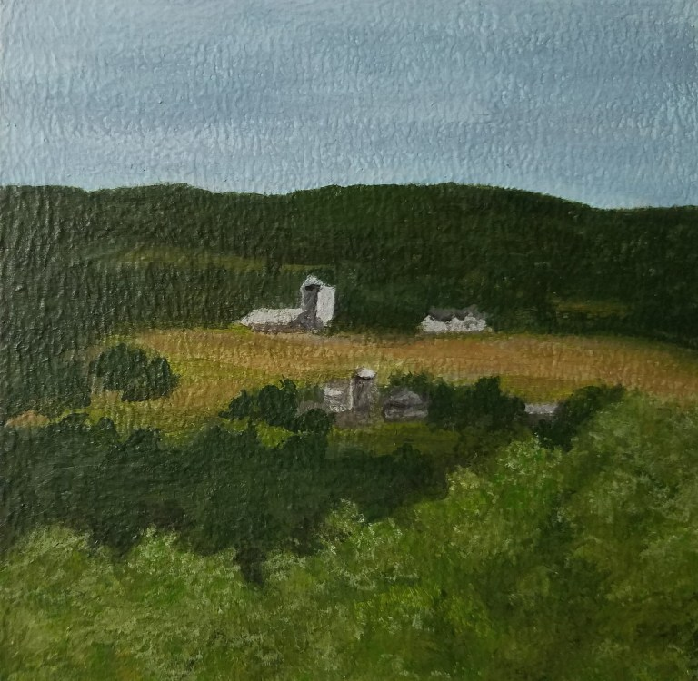 Burdett Farm by Laura Jaen Smith. Acrylic landscape painting of farm in the hills near Watkins Glen from Around the Finger Lakes series.