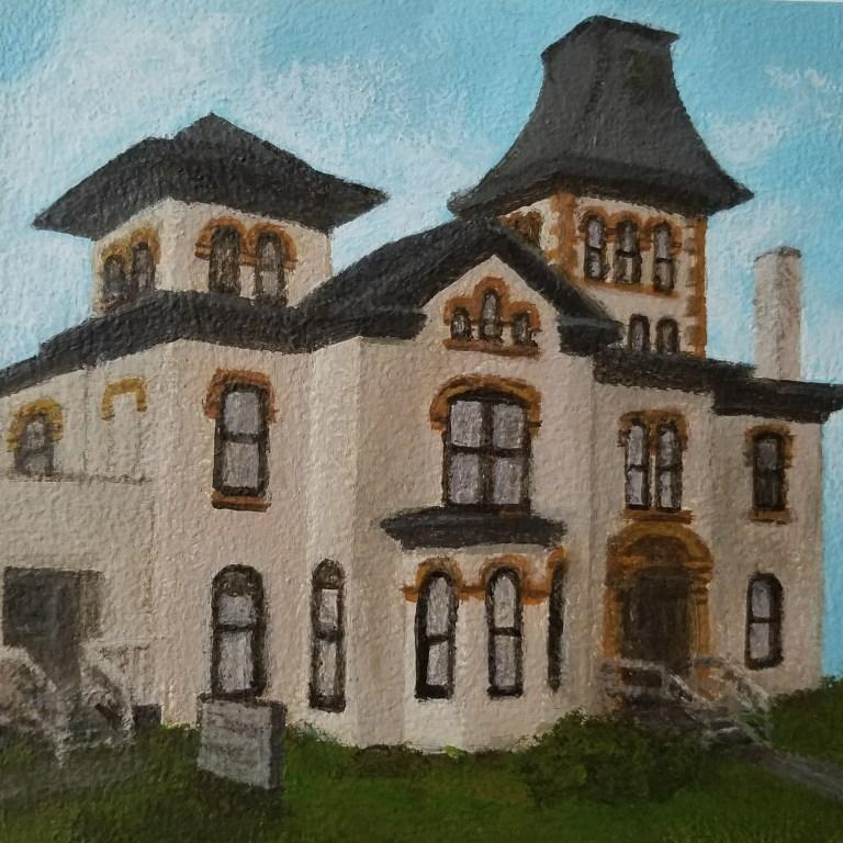 Community Arts of Elmira by Laura Jaen Smith. Acrylic landscape painting of historic Landgon Pratt house from Around the Finger Lakes series.
