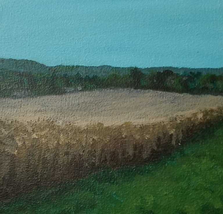 Cornfield in Veteran by Laura Jaen Smith. Acrylic landscape painting of farm land near Horseheads NY from Around the Finger Lakes series.