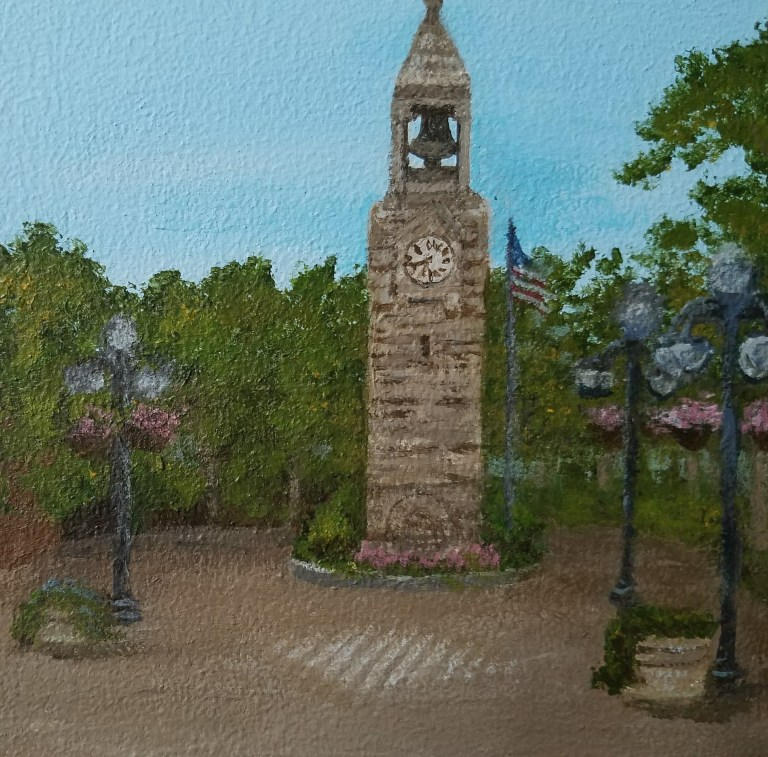 Corning Clock Tower by Laura Jaen Smith. Acrylic landscape painting of Centerway Square Market Street Corning NY from Around the Finger Lakes series.