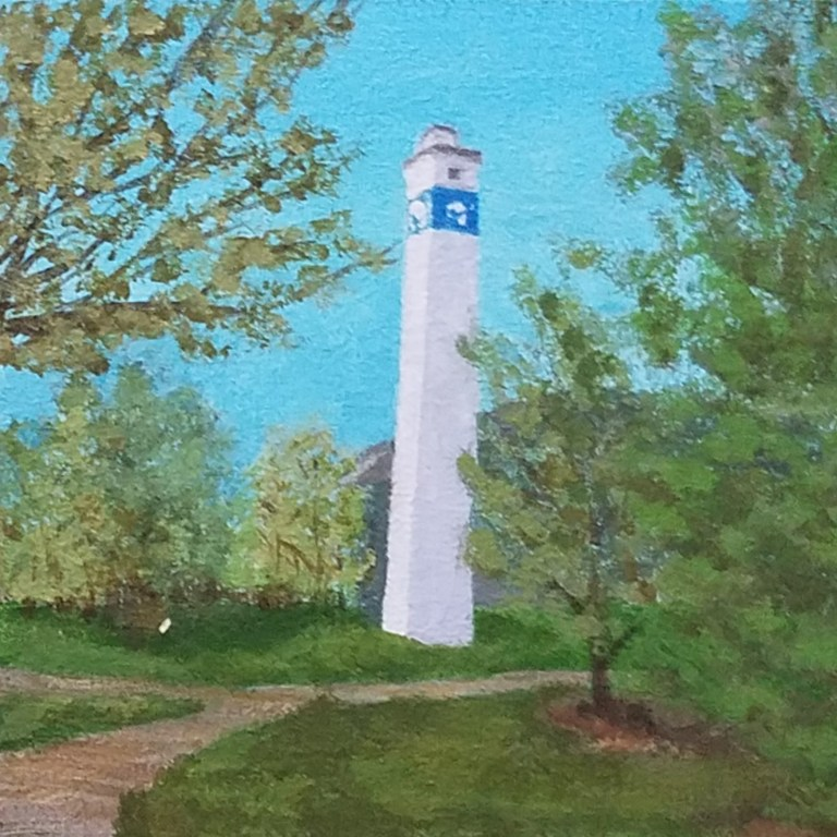 Corning Gaffer Tower by Laura Jaen Smith. Acrylic landscape painting of Little Joe Tower NY from Around the Finger Lakes series.