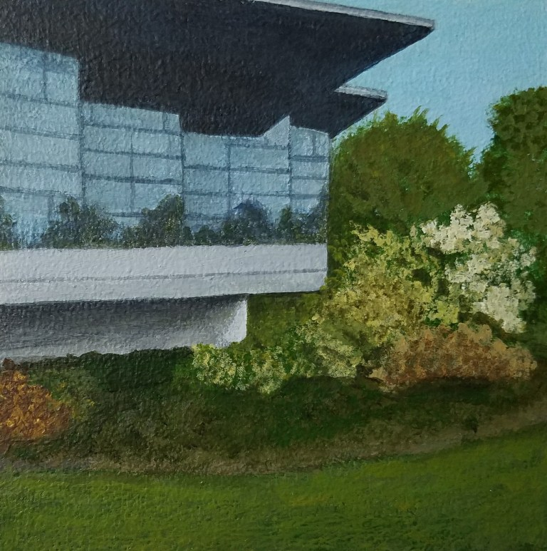 Corning Inc by Laura Jaen Smith. Acrylic landscape painting of flower gardens near glass office building from Around the Finger Lakes series.