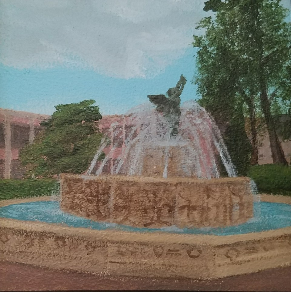 EC Fountain by Laura Jaen Smith. Acrylic landscape painting of Elmira College campus from Around the Finger Lakes series.