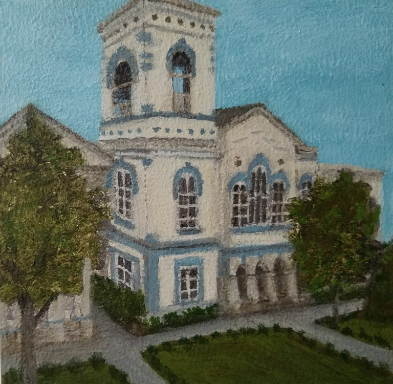 Elmira Courthouse by Laura Jaen Smith. Acrylic landscape painting from Around the Finger Lakes series.