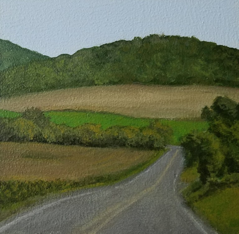 Country Road by Laura Jaen Smith. Acrylic landscape painting of rural NY road from Around the Finger Lakes series.