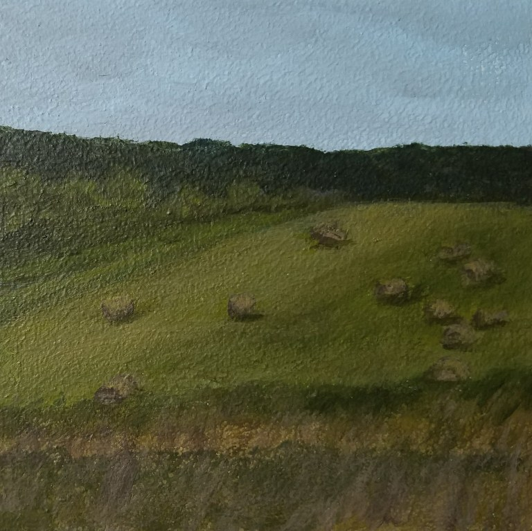 Hay Bales in Veteran by Laura Jaen Smith. Square acrylic landscape painting of country field with hay bales.. Around the Finger Lakes series.