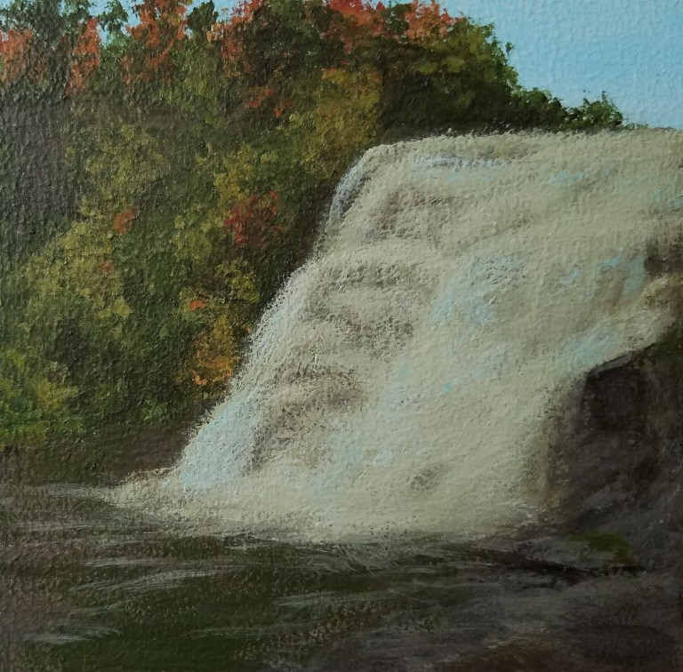 Ithaca Falls by Laura Jaen Smith. Square acrylic landscape painting of waterfall in autumn. Around the Finger Lakes series.