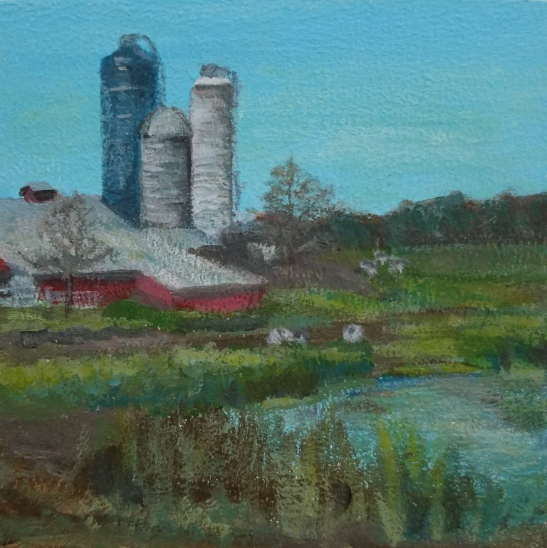 Middle Road Farm by Laura Jaen Smith. Square acrylic landscape painting of farm with pond and cows.. Around the Finger Lakes series.