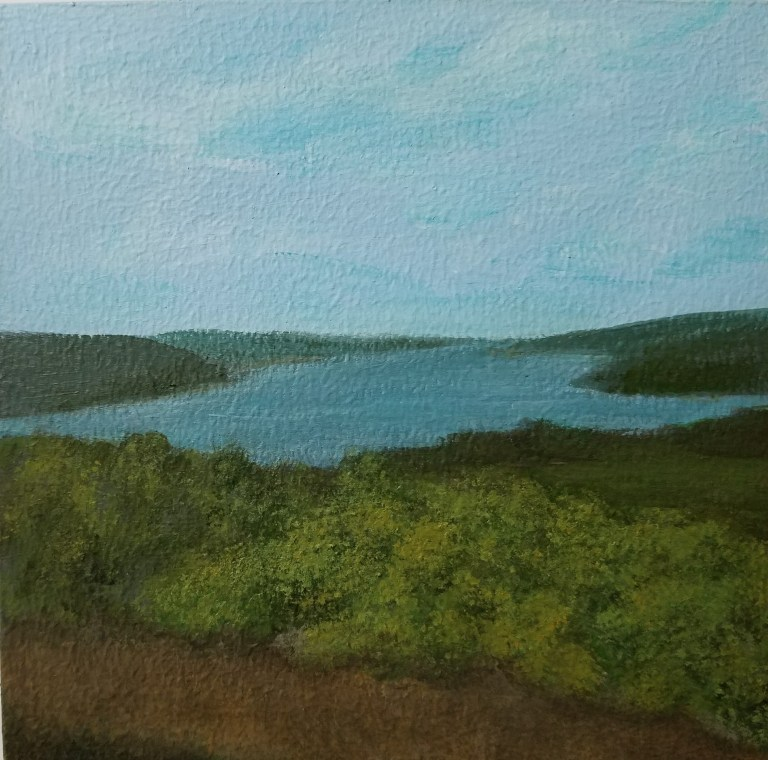 Overlooking Seneca by Laura Jaen Smith. Square acrylic landscape painting of scenic overlook in Watkins Glen. Around the Finger Lakes series.