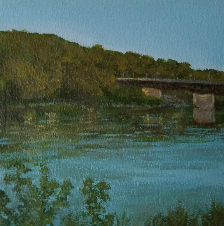 Owego Riverwalk by Laura Jaen Smith. Square acrylic landscape painting of Susquehanna River looking towards bridge. Around the Finger Lakes series.