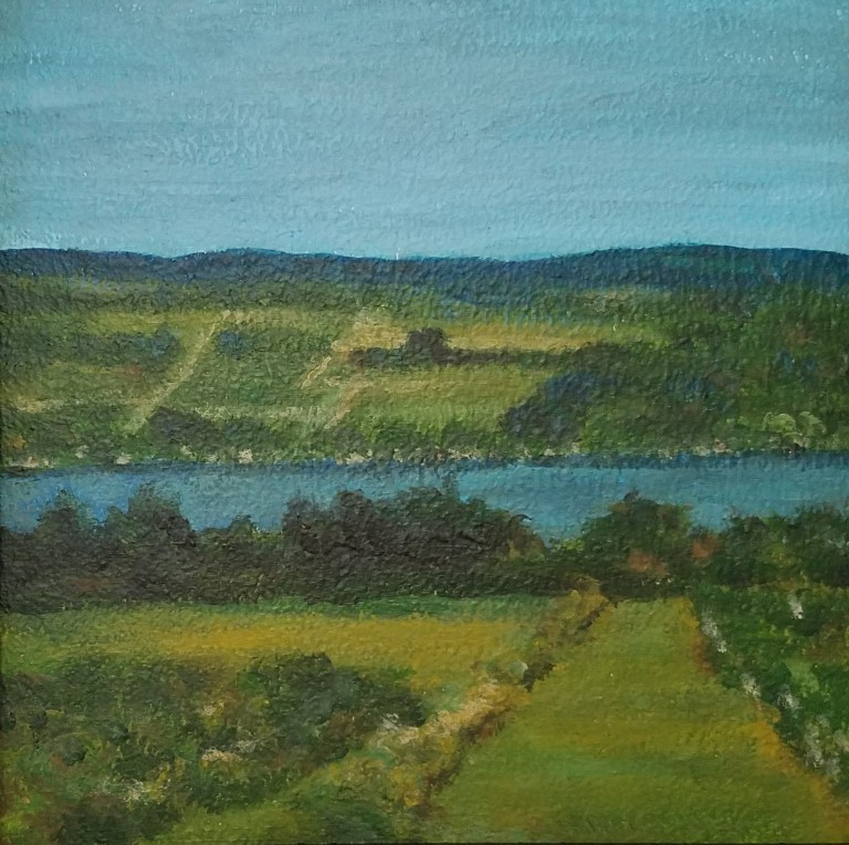 Seneca on a Summer Day by Laura Jaen Smith. Square acrylic landscape painting of vineyard near Seneca Lake. Around the Finger Lakes series.