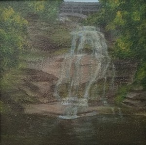 Shequaga Falls by Laura Jaen Smith. Square acrylic landscape painting of waterfall in Montour Falls. Around the Finger Lakes series.