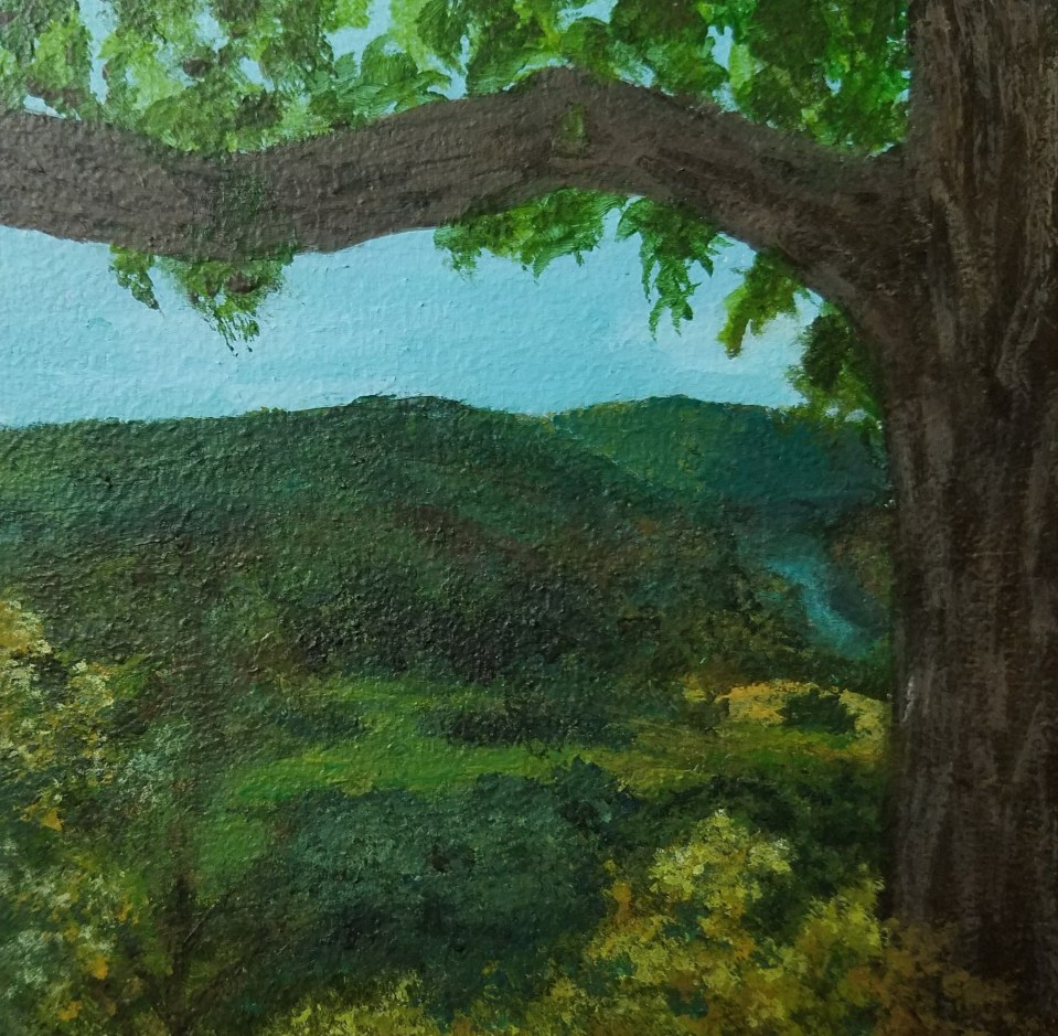 Tanglewood Overlook by Laura Jaen Smith. Square acrylic landscape painting of overlooking Chemung Valley from Tanglewood Nature Center trail. Around the Finger Lakes series.
