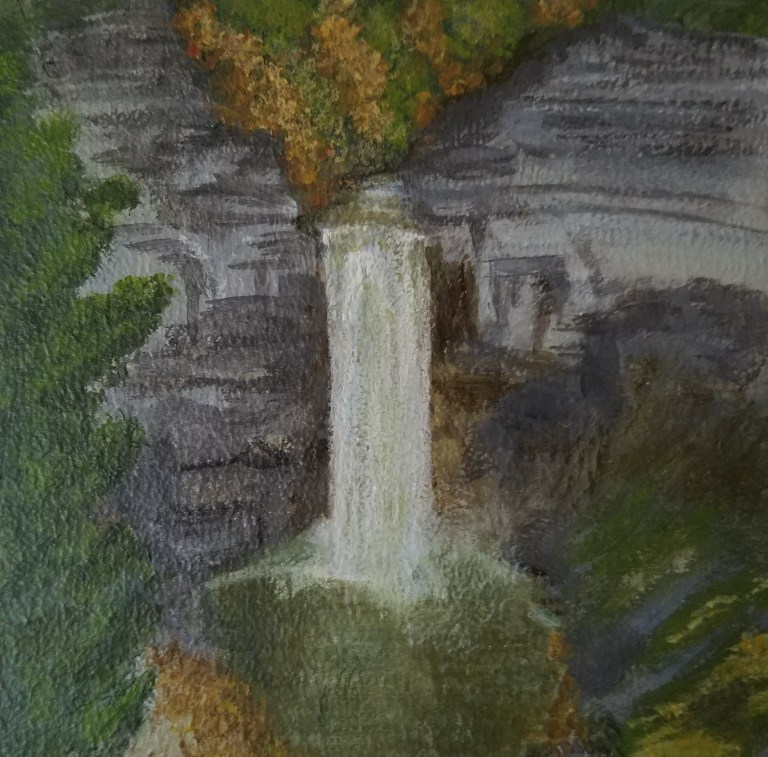 Taughannock Falls by Laura Jaen Smith. Square acrylic landscape painting of waterfall in autumn. Around the Finger Lakes series.