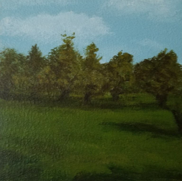 Veteran Apple Trees by Laura Jaen Smith. Square acrylic landscape painting of row of apple trees in backyard. Around the Finger Lakes series.