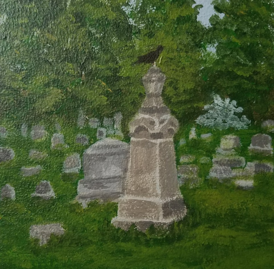 Woodlawn Cemetery by Laura Jaen Smith. Square acrylic landscape painting of graveyard tombstone with raven on top. Around the Finger Lakes series.