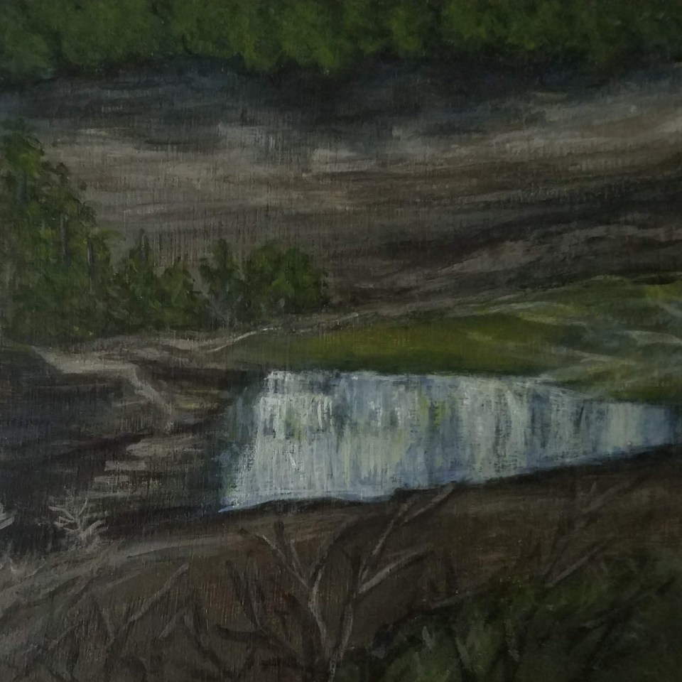 Letchworth Lower Falls by Laura Jaen Smith. Acrylic landscape painting of Letchworth State Park waterfall. 50 NY Waterfalls Project.