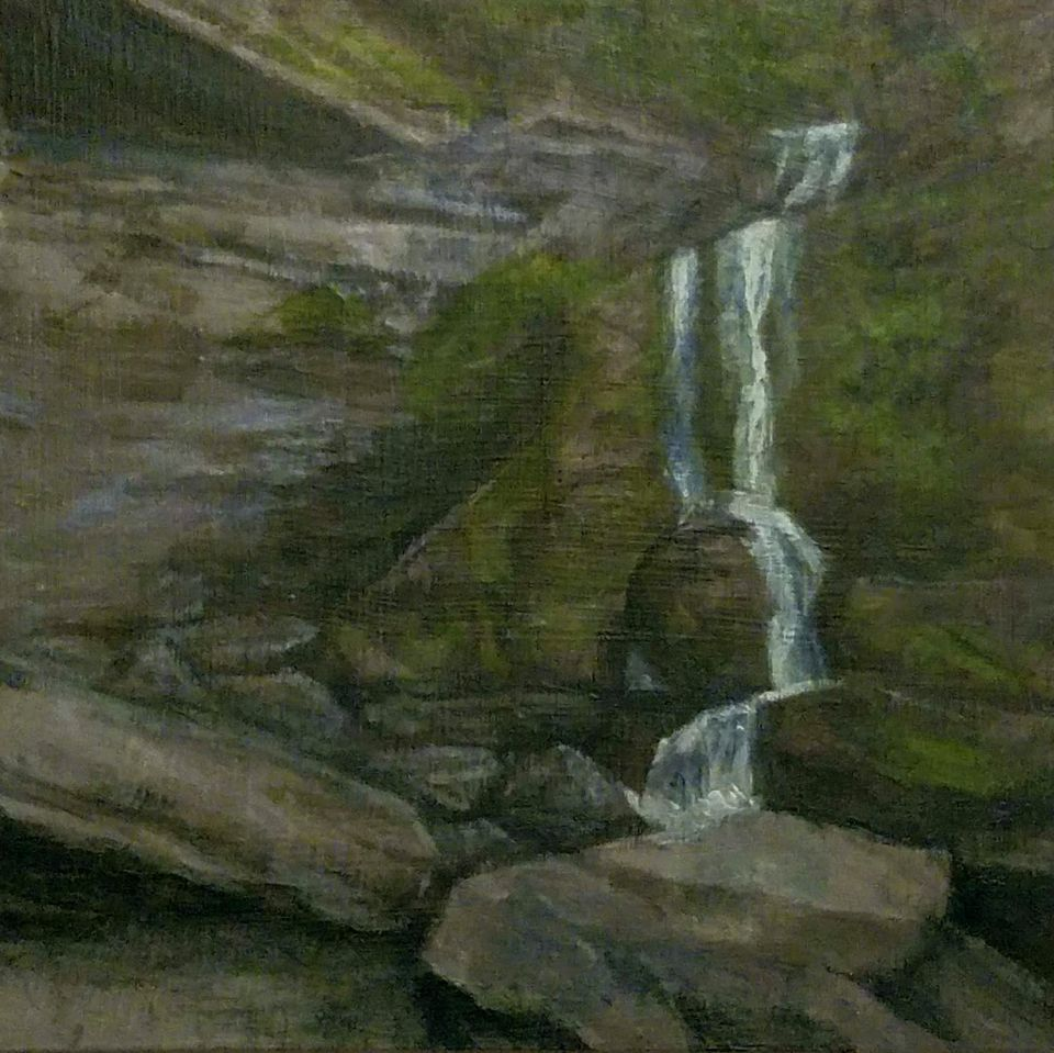 Fillmore Glen Cowshed Falls by Laura Jaen Smith. Acrylic landscape painting of Moravia waterfall from 50 NY Waterfalls Project.