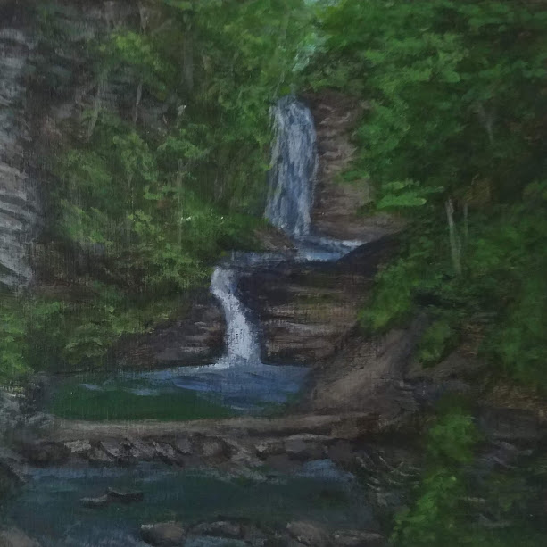 Deckertown Falls by Laura Jaen Smith. Acrylic landscape painting of Montour Falls waterfall from 50 NY Waterfalls Project.