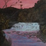Taughannock Lover Falls by Laura Jaen Smith. Acrylic landscape painting of sunset waterfall in Trumansburg from 50 NY Waterfalls Project.