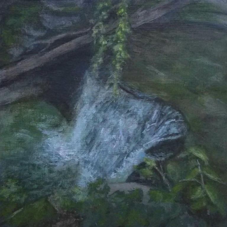 Twin Falls Lower Falls by Laura Jaen Smith. Acrylic landscape painting of waterfall in Watkins Glen from 50 NY Waterfalls Project.