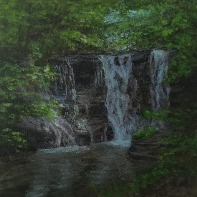 Twin Falls Upper Falls by Laura Jaen Smith. Acrylic landscape painting of waterfall in Watkins Glen from 50 NY Waterfalls Project.