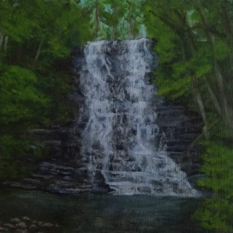 Waverly Glen by Laura Jaen Smith. Acrylic landscape painting of waterfall from 50 NY Waterfalls Project.