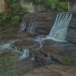 Van Natta Falls by Laura Jaen Smith. Acrylic landscape painting of waterfall in Busnessman's Lunch Falls Ithaca from 50 NY Waterfalls Project.