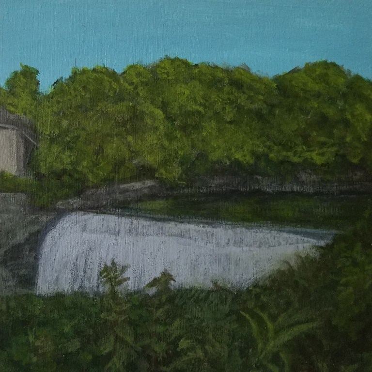 Genesee River Lower Falls by Laura Jaen Smith. Acrylic landscape painting of waterfall in Rochester from 50 NY Waterfalls Project.