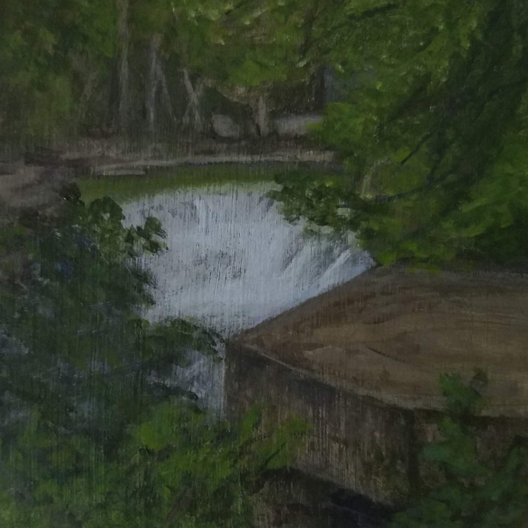 Cascade Mill Falls by Laura Jaen Smith. Acrylic landscape painting from Keuka Outlet Trail Penn Yan from 50 NY Waterfalls Project.