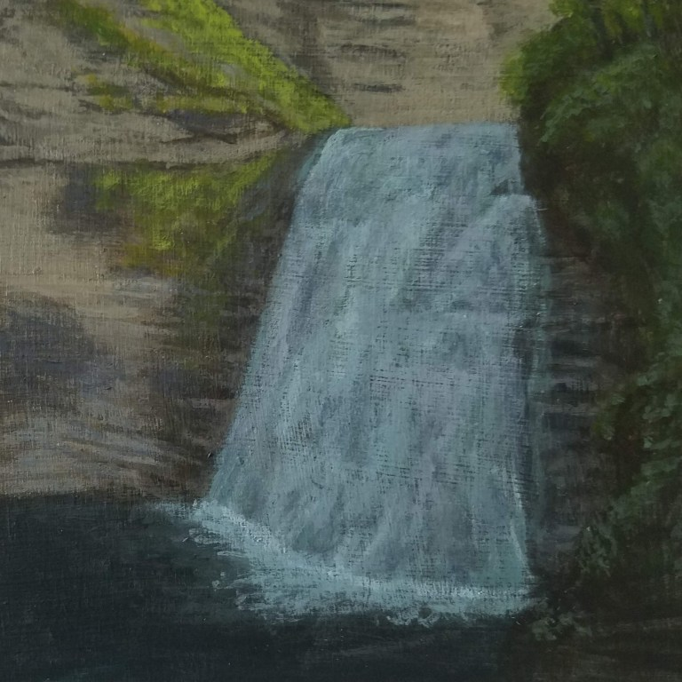 Stony Brook Lower Falls by Laura Jaen Smith. Acrylic landscape painting State Park Dansville from 50 NY Waterfalls Project.