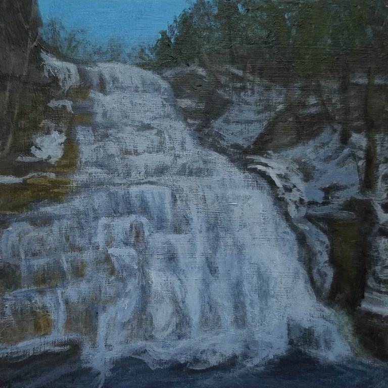 Hector Falls (Winter) by Laura Jaen Smith. Square acrylic landscape painting of Hector Falls in winter from 50 New York Waterfalls series.