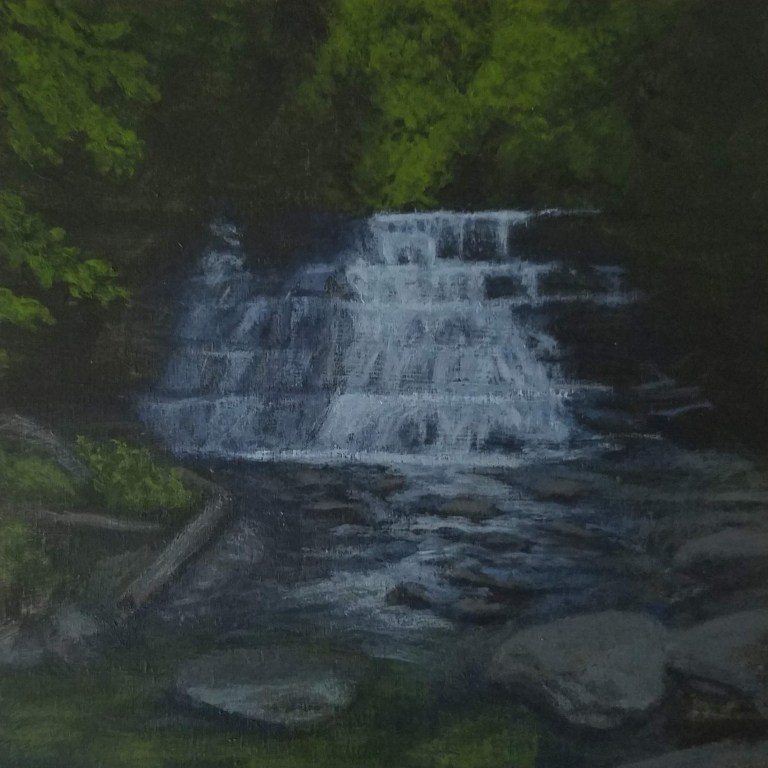 Stony Brook Middle Falls by Laura Jaen Smith. Acrylic landscape painting of waterfall in Stony Brook State Park Danville from 50 NY Waterfalls Project.