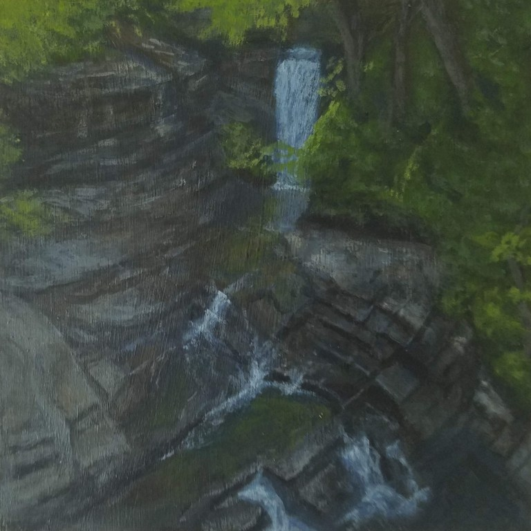 Bridge 7 Falls by Laura Jaen Smith. Acrylic landscape painting of waterfall in Fillmore Glen State Park Moravia from 50 NY Waterfalls Project.
