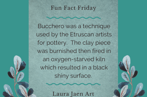 Fun Fact Friday graphic - Bucchero was a technique used by the Etruscan artists for pottery. The clay piece was burnished then fired in an oxygen-starved kiln which resulted in a black shiny surface.