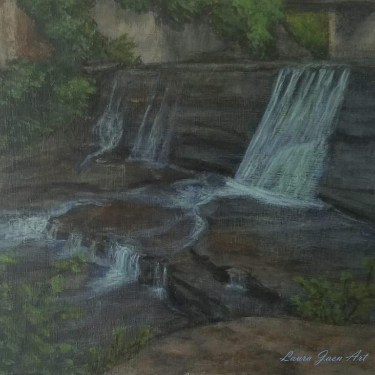 Van Natta Falls by Laura Jaen Smith. Acrylic landscape painting Wells Falls/Businessman's Lunch Falls Ithaca. 50 NY Waterfalls Project.