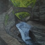Triple Cascade by Laura Jaen Smith. Acrylic landscape painting of Watkins Glen State Park waterfall. 50 NY Waterfalls Project.