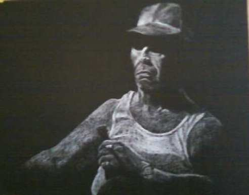 George by Laura Jaen Smith. Charcoal pastel drawing of man in shadow cigarette and beer in hand.