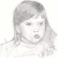 Little Laura by Laura Jaen Smith. Self-portrait pencil drawing 4 years old.