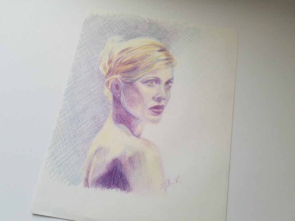 Portrait of Woman by Laura Jaen Smith. Colored pencil drawing in purple and yellow.