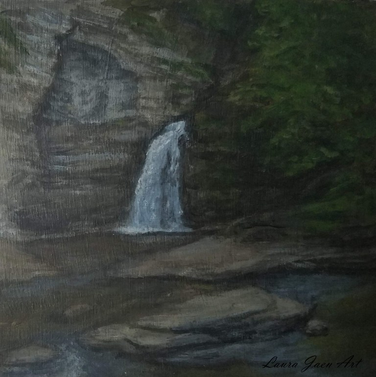 Eagle Cliff Falls by Laura Jaen Smith. Acrylic landscape painting Havana Glen Montour Falls from 50 NY Waterfall Project.