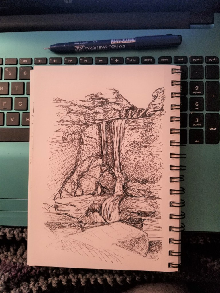 Sketchbook view of Cowshed Falls by Laura Jaen Smith. Black and white ink drawing of Fillmore Glen State Park Moravia waterfall.