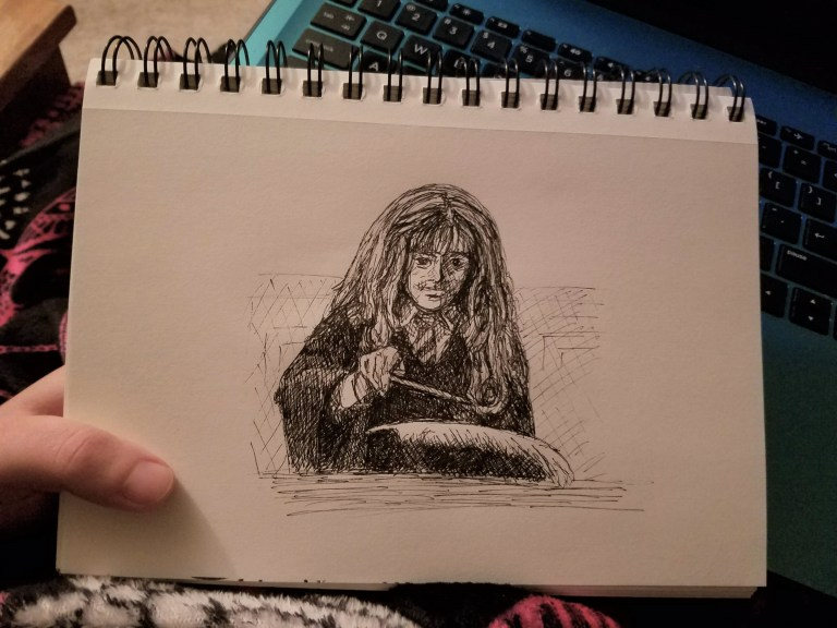 Sketchbook view of Spell by Laura Jaen Smith. Black and white ink drawing of wizard casting spell.