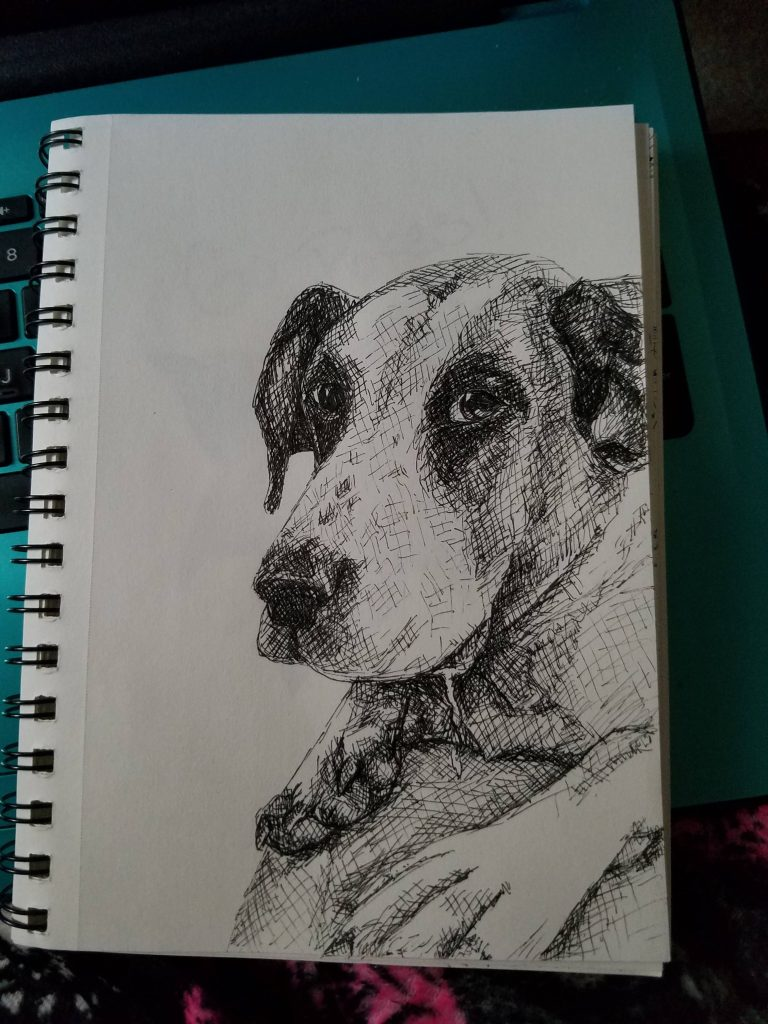 Sketchbook view of Drool by Laura Jaen Smith. Black and white ink drawing of dog drooling.